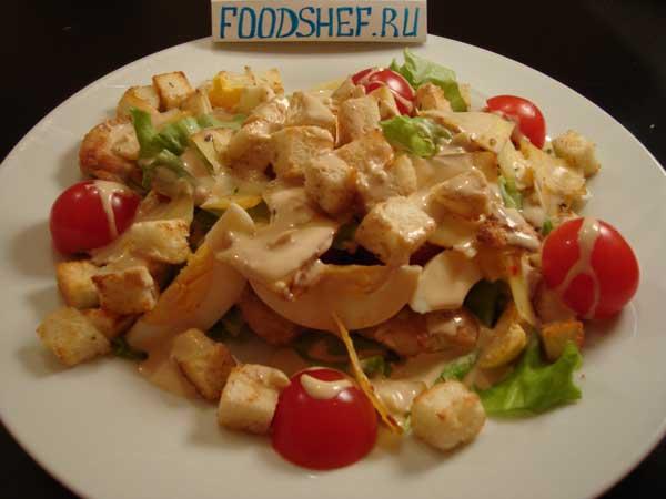 рецепт салата цезарь с майонезом и сухариками