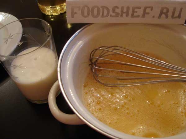 взбитые яйца в молоке