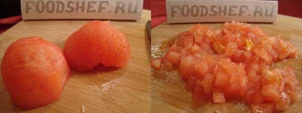 помидоры мелким кубиком