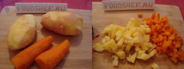 вареные овощи кубиком