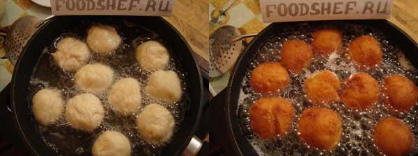 пончики выложенные в масло