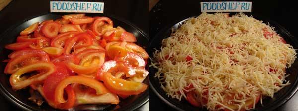добавляем помидоры и засыпаем сыром