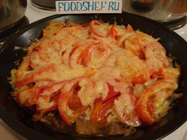 запеченное филе под овощами