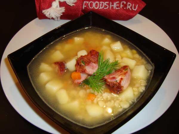 суп гороховый с копчеными ребрами в мультиварке