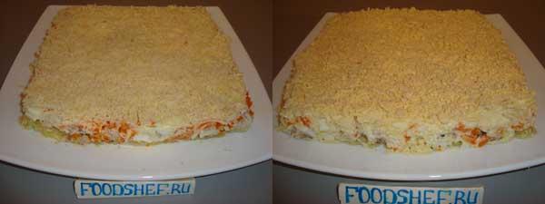 посыпаем сыром и желтком