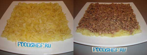 выкладываем картофель и сайру