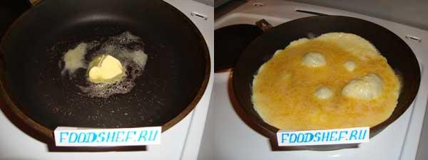 Обжариваем омлет