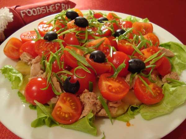 Салат с тунцом консервированным слоями