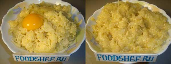 добавляем яйцо и сыр