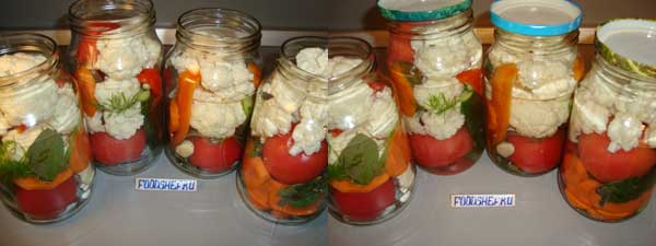 складываем овощи