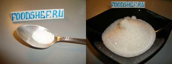отмеряем сахар лимонную кислоту