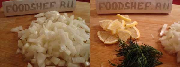 нарезаный лук укроп лимон