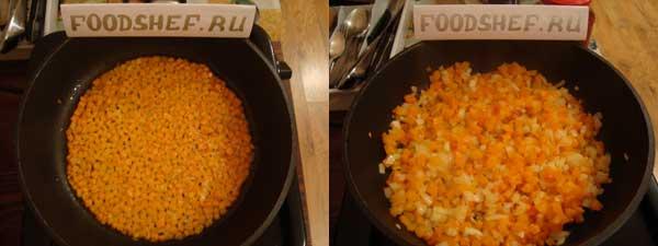 Морковь в сковороде