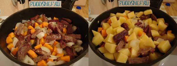 обжариваем морковь лук картофель