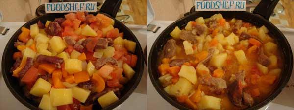 обжариваем перец помидоры и доводим до готовности