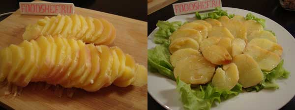 нарезанный картофель кольцами выкладываем веером