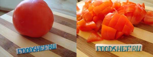 нарезанный помидор кубиком