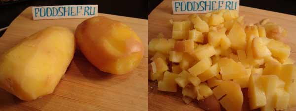 картофель нарезанный кубиком