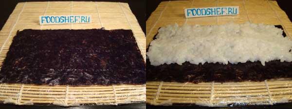 на нори выкладываем рис