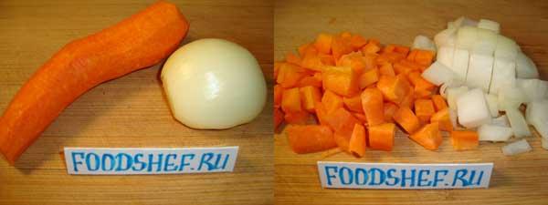 морковь и лук кубиком