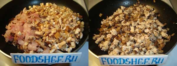 обжариваем филе и грибы