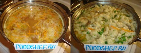готовый суп с клецками
