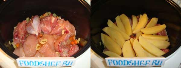 выкладываем картофель и курицу