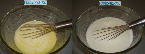 наливаем молоко воду масло