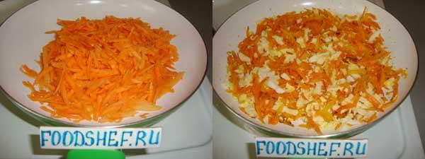 обжариваем морковь и яйца