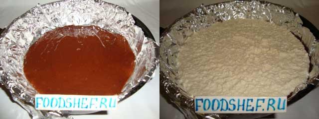 наливаем тесто и начинку