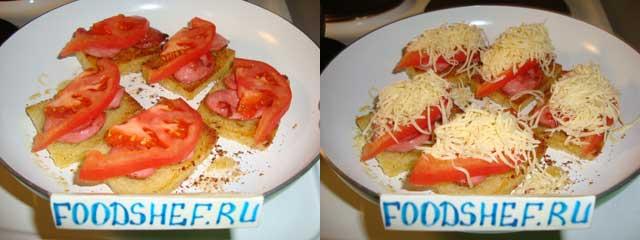 добавляем помидор и сыр
