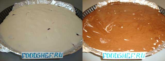 наливаем творожную массу тесто
